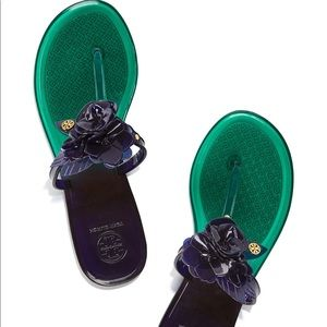 Tory Burch floral navy green jelly slippers